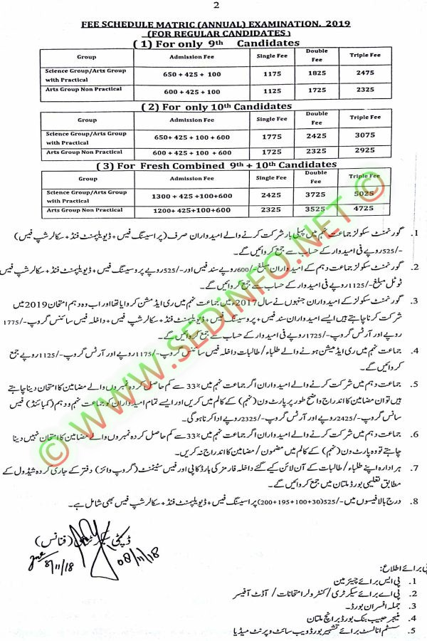 BISE-Multan-Fee-Schedule-Matric-Annual-Examination-2019-reg