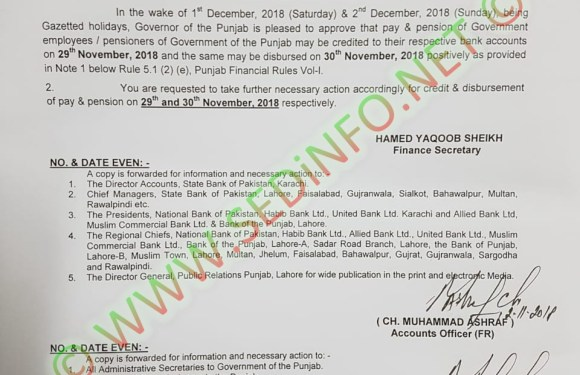 Credit of Pay and Pension to Govt Employees on 29th Nov 2018