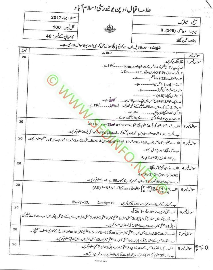 AIOU Matric Code 248 Past Papers Spring 2017