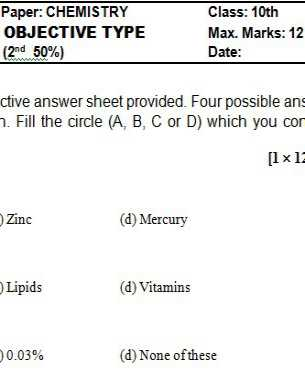 Download 10th Class Chemistry Chapter Wise Test Series