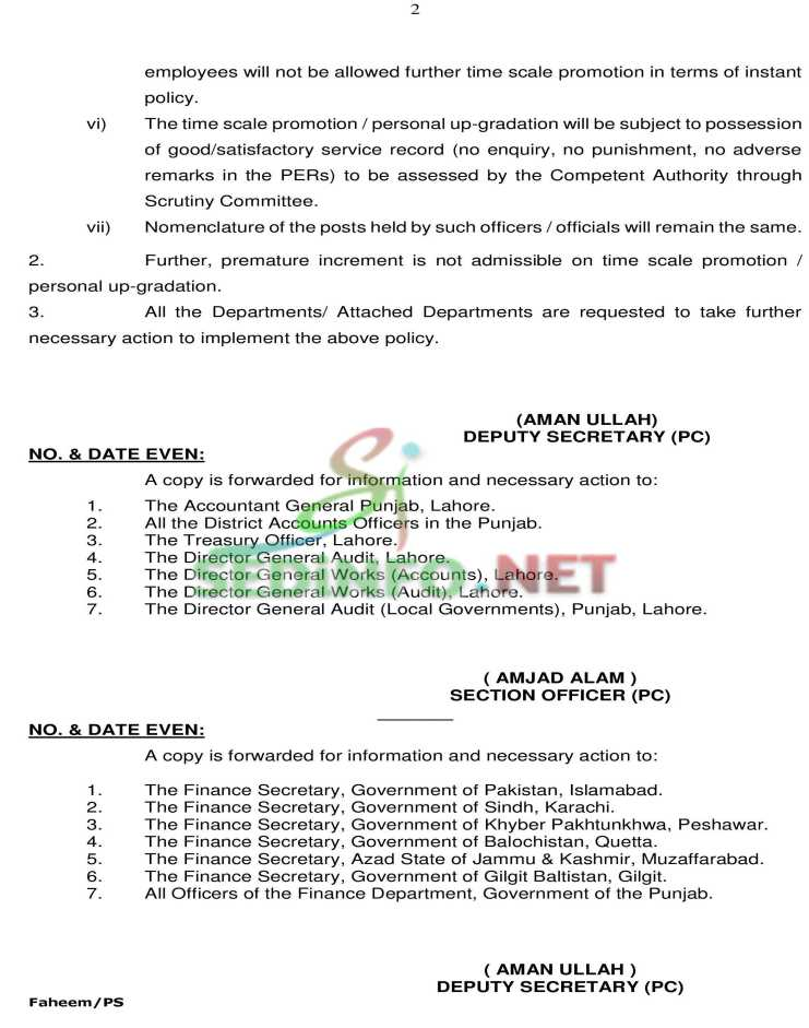 Time Scale Promotion Notification for Punjab Government