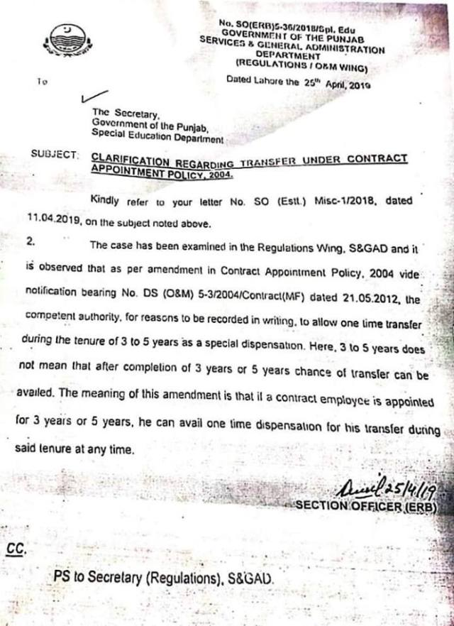 Clarification Regarding Transfer Under Contract Appointment Policy 2014