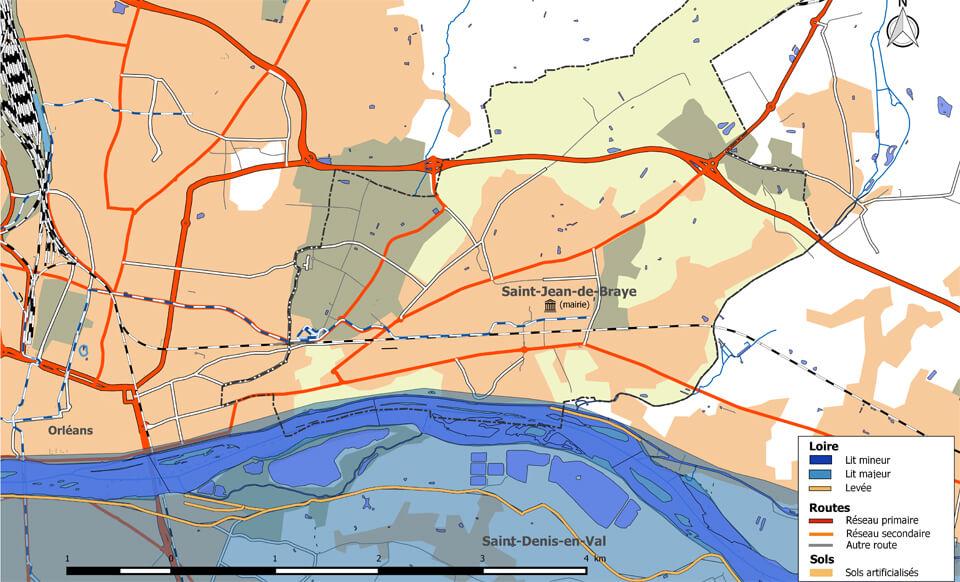 Carte Saint-Jean-de-Braye et Loire