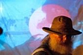 Kris Bruders Freight Train. Background- video installation by Micki Hadley