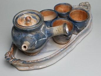 Tea Set is high fire pottery by Luke Metz in Sedona, Arizona