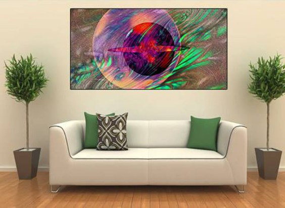 "Relax, and allow the stunning and cosmic colors of ""Galaxy 11:11"" engage you and take you on an Inter-Galactic NJoyFractald journey that renders the viewer speechless. Original size 52"" x 26"" Metallic Giclee Print on Metal. Signed and Numbered."