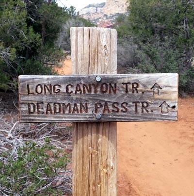 Long Canyon Dead Mans Pass sign