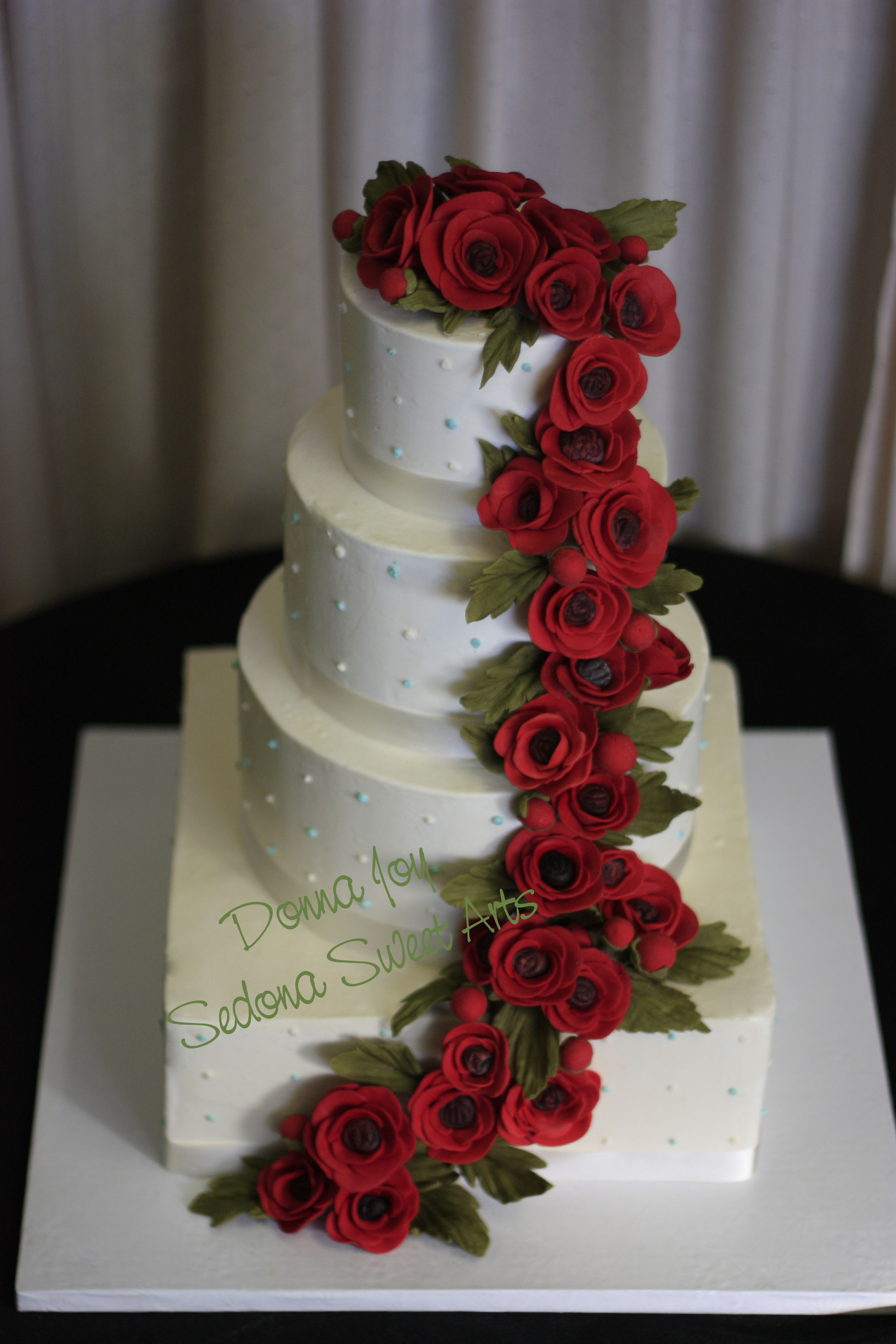 Red Sugar Ranunculus Wedding Cakes     Sedona Wedding Cakes We