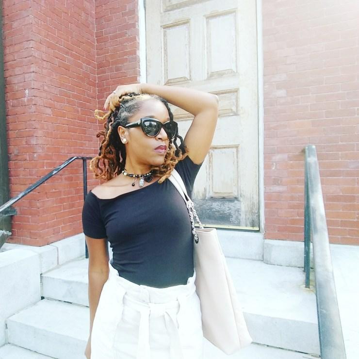 Off Shoulder Black top & High Waisted Linen skirt by H&M | Sedruola Maruska