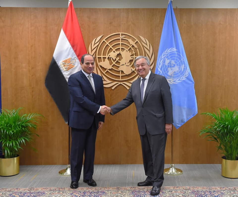 President Abdel Fattah El Sisi and UN Secretary General met on the sidelines of the UNGA74 on Wednesday- Press Photo