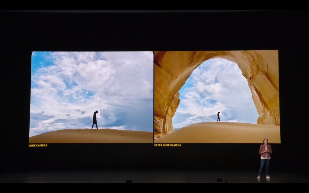 A look at the wide (left) and ultra wide cameras in the new iPhone 11.