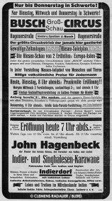 1930: Circus Poster for John Hagenbeck's 'Indier und Singhalesen Karawane' (India and Ceylon Caravan)