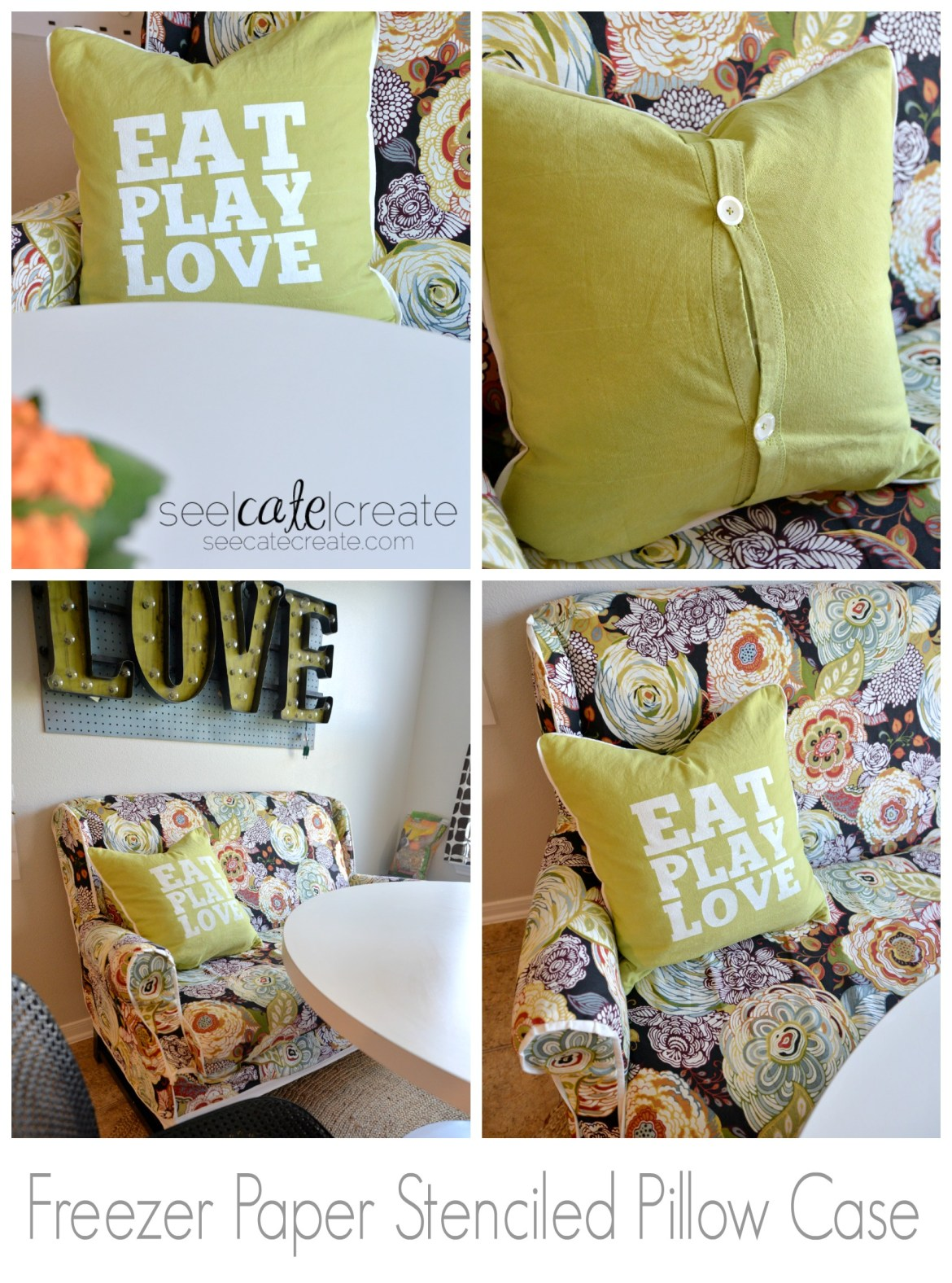 DIY Typography Pillow|Freezer Paper Stenciling