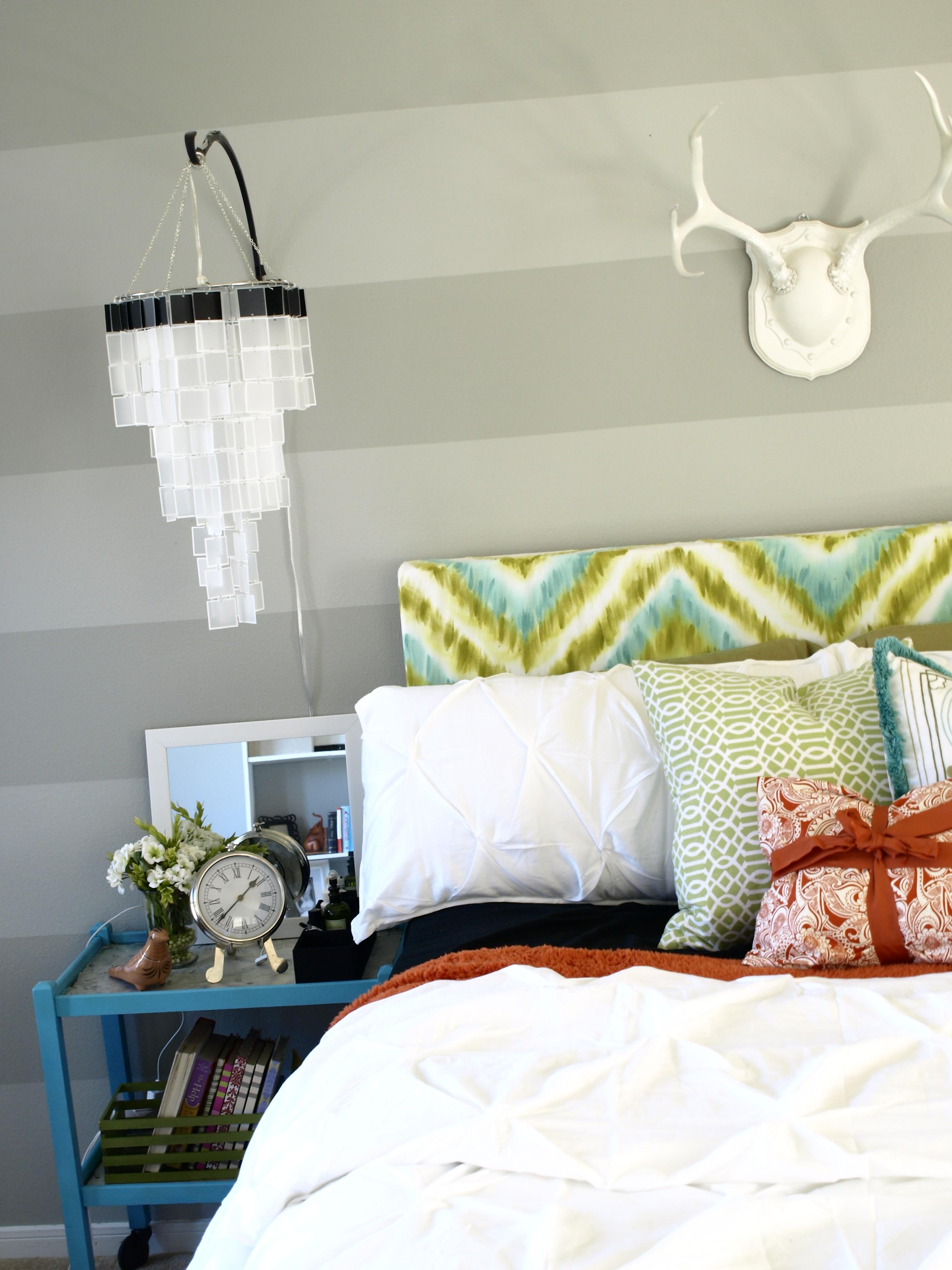 Painted Headboard Ideas diy chevron headboard | hand-painted upholstered headboard