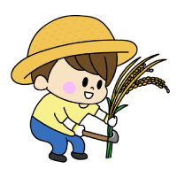 稲刈りをする男の子