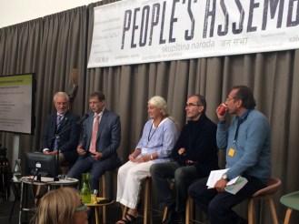 Hans Herren, André Leu, Stephanie Seneff, François Veillerette, Marcelo Firpo. Big clap for all these brave ethical scientists!! — em The Hague, South Holland - Hoefkade, 14 October 2016.