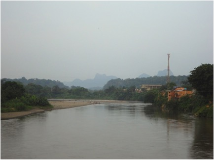 The view of the beautiful San Juan River from the bridge in Istmina.