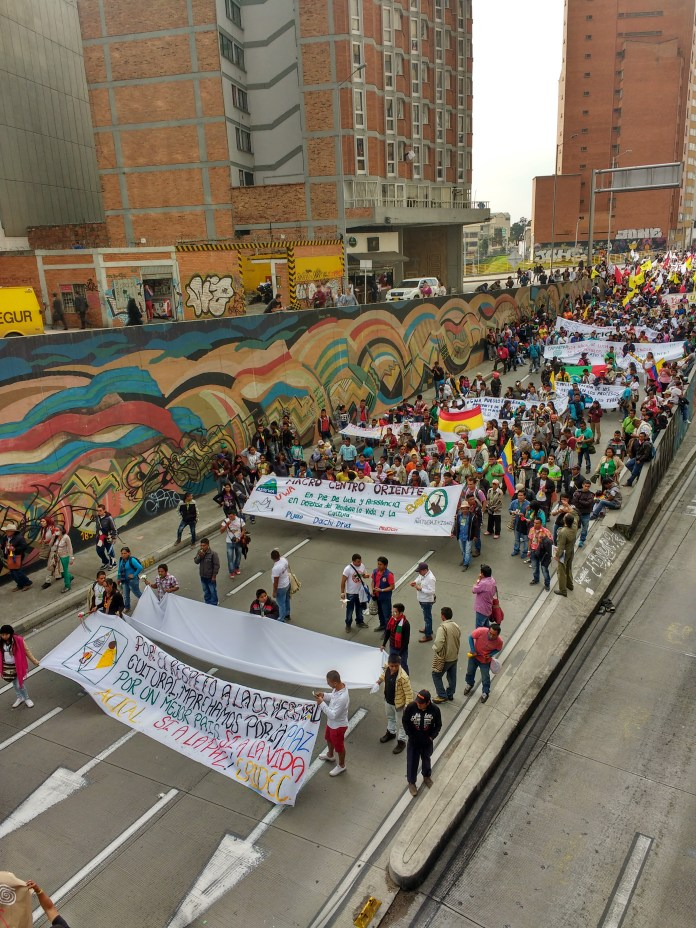 People from all over the country march in the streets of Bogotá