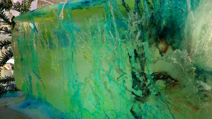 Playing with ice and food colouring.
