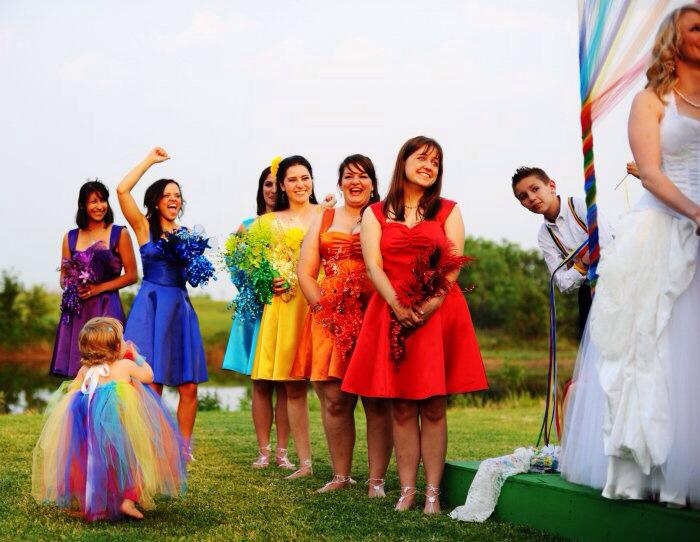 Custom Rainbow Wedding Dress Bridal Party Spectrum Dresses Designed by Jai Lynn Sovereign custom designs