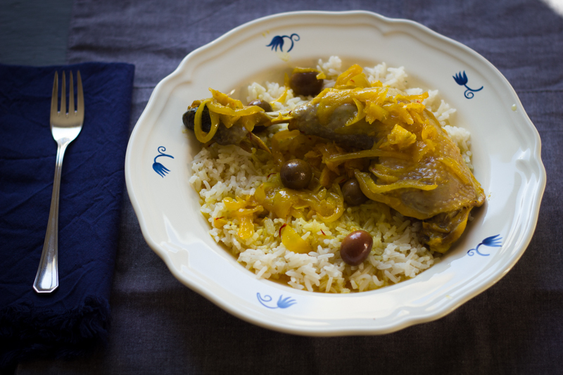 Moroccan chicken tagine served over steamed basmati rice