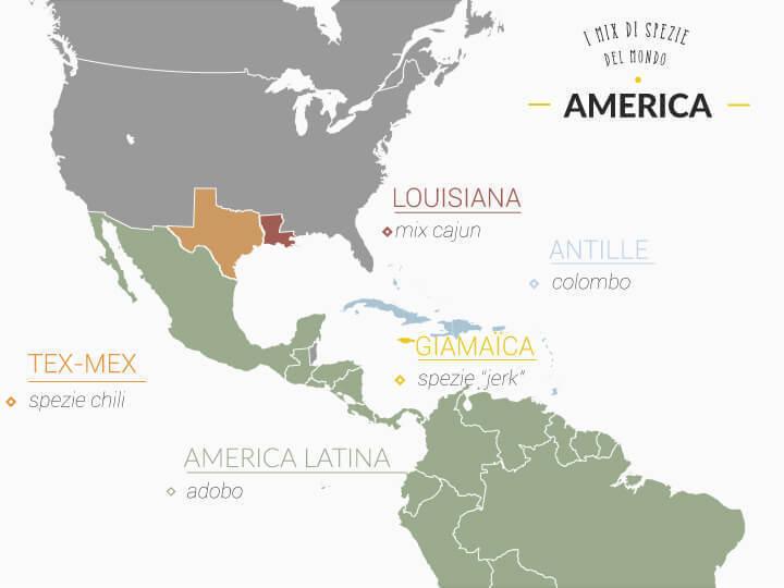 mappa dei mix di spezie utilizzati in america