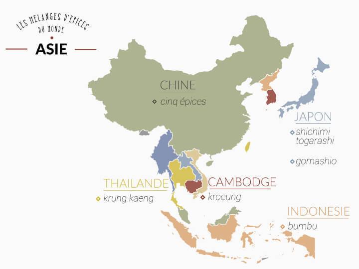 Map de l'asie avec ses mélanges d'épices