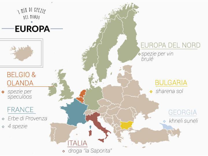 mappa dei mix di spezie usati in europa
