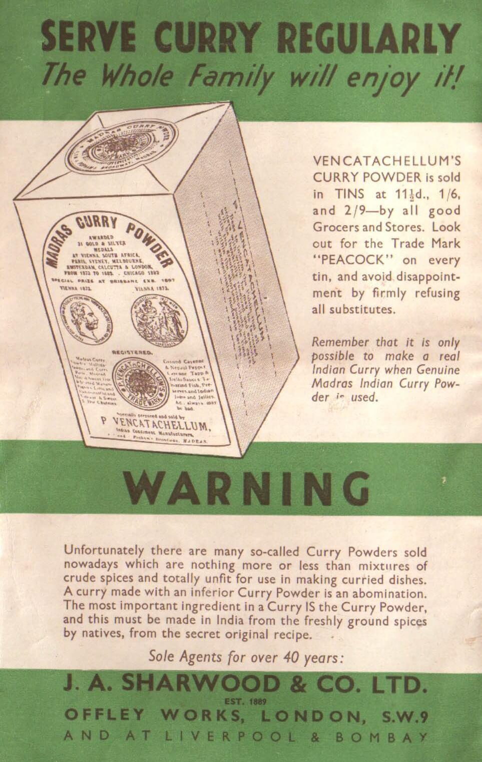 ancienne publicité d'une poudre de curry