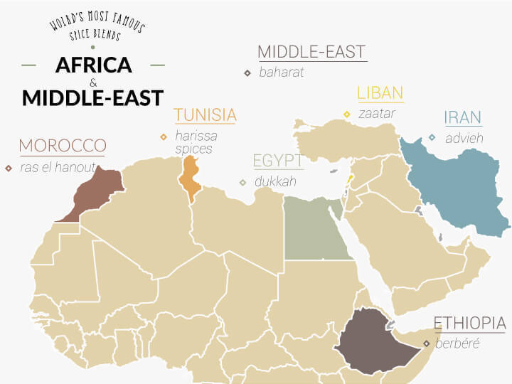 Map of african and middle eastern spice mixes