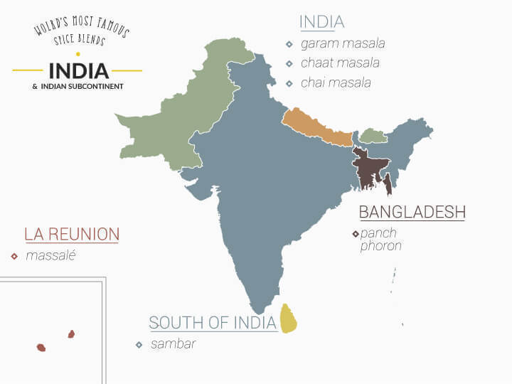 Map of the spice mixes of India
