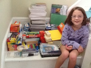 Brady Egan with the school supplies