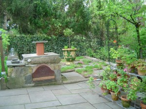 Wood burning oven and checkerboard garden