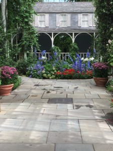 Recreation of Celia Thaxter's porch at the American Impressionists exhibit at NYBG. Note the red, white and blue flowers!