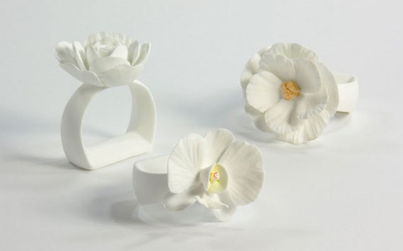 porcelain flower napkin rings
