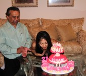 Happy 21st Birthday! (though Inesha was celebrating with a separate cake in Sri Lanka)