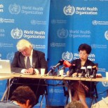 Dr. Chan speaking at the Emergency press conference on the Ebola outbreak