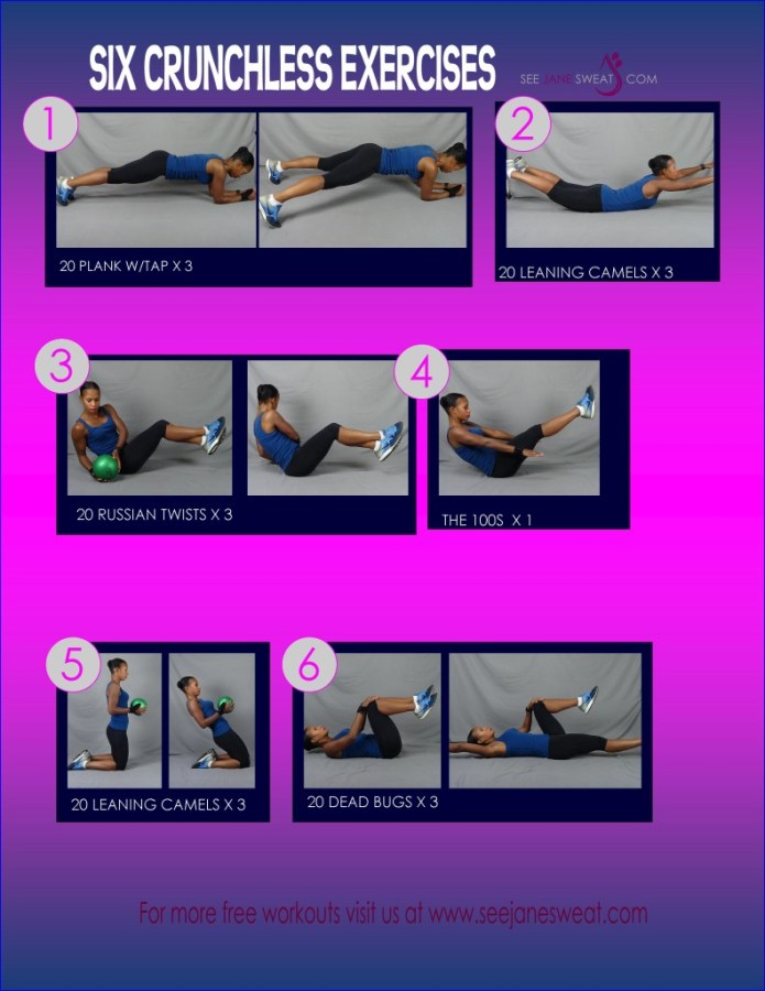 Six Crunchless Abs Exercises