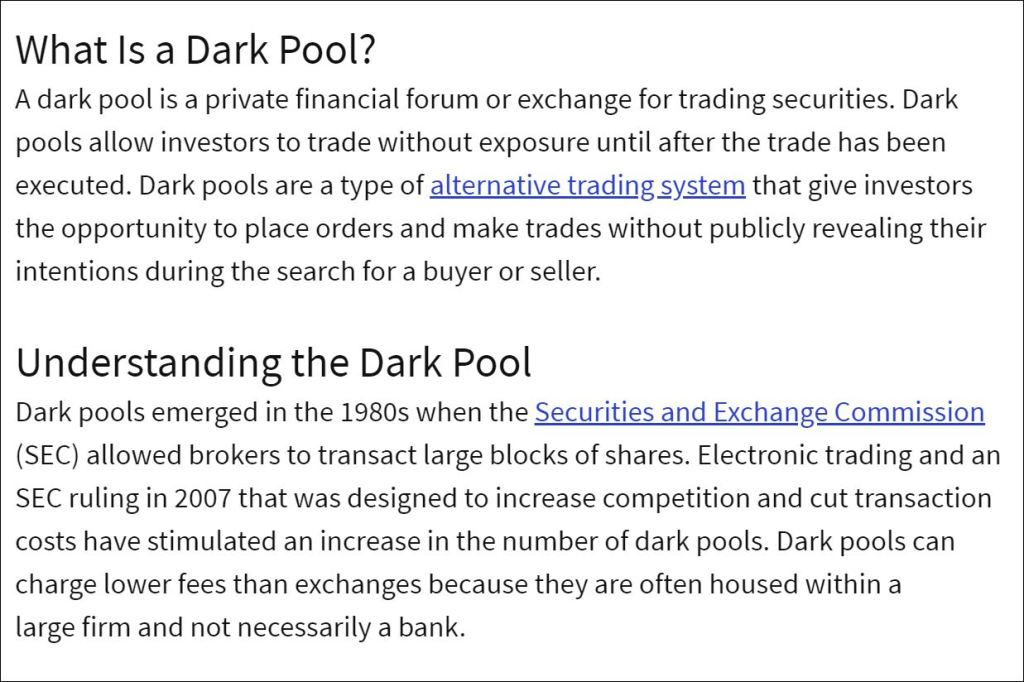What is the dark pool