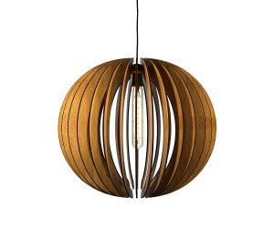 3D sphere wood cutout pendant light