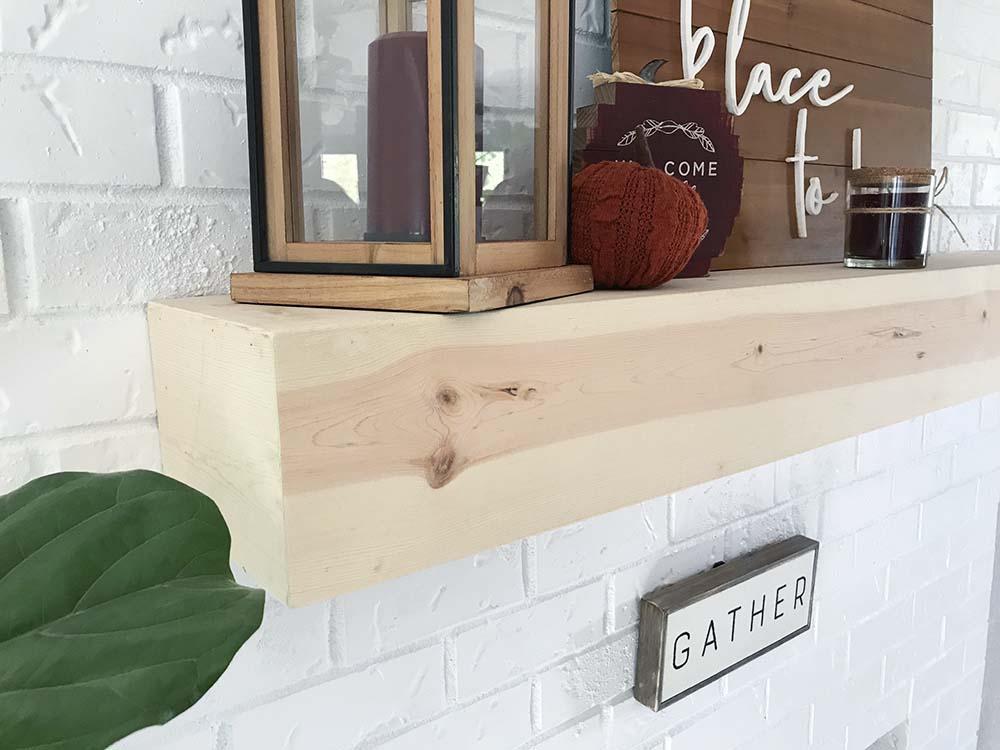 Fabulous Easy Diy Floating Wood Mantel On Brick Fireplace Seeking Home Remodeling Inspirations Basidirectenergyitoicom