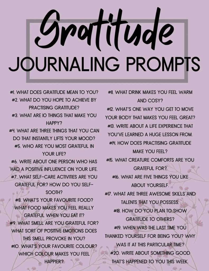 printable gratitude journaling prompts