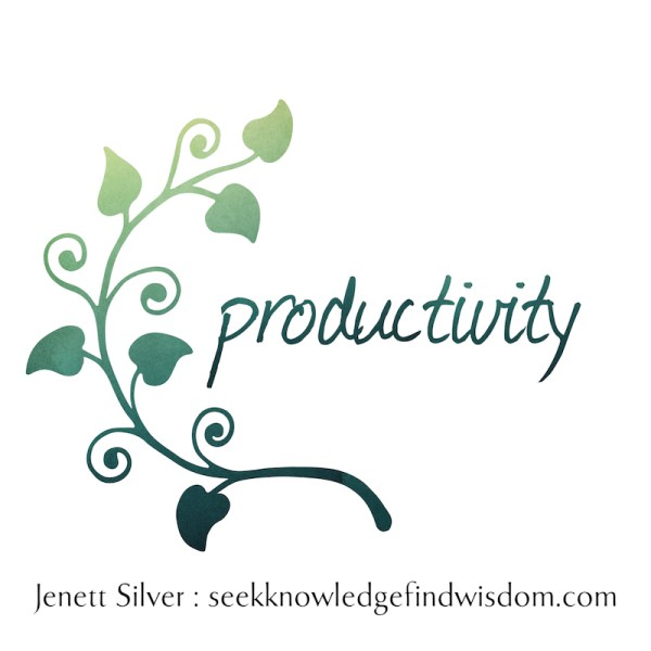 "Green leaves curling up around the word ""productivity"""