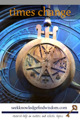 "Massive pendulum clock (from the Warner Brothers Harry Potter studios) with the text ""Times change"""