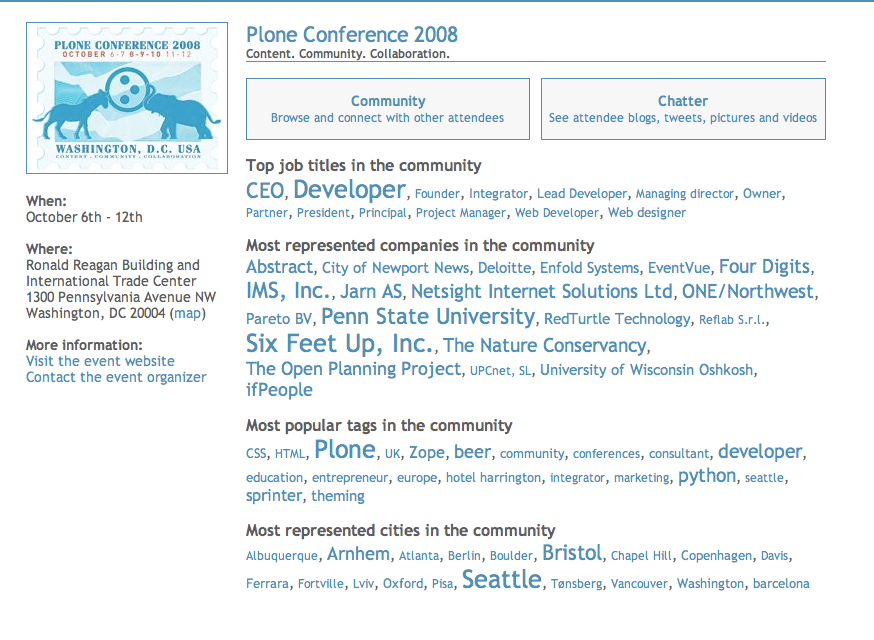 Plone 2008 conference's EventVue page