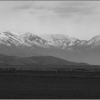 Cedar Fort fields and mountains in black and white