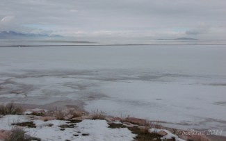 Looking north and east, past the causeway, from the shore of Antelope Island.