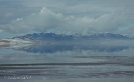 Fremont Island and cloud reflections in The Great Salt Lake.