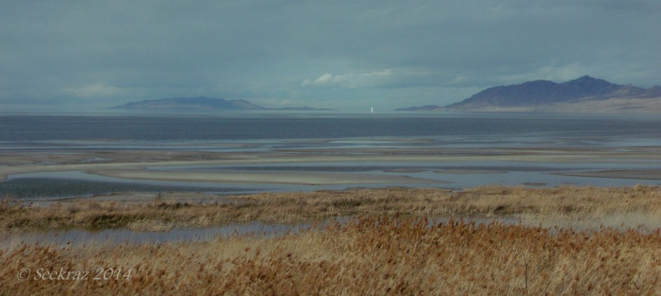 Carrington Island is toward the left of center and Antelope Island is toward the right.