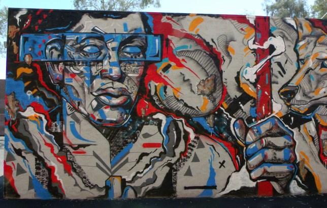 Poly-Native mural far left panel